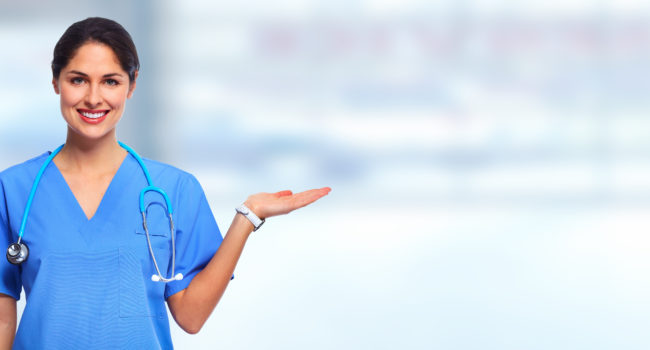 Medical doctor woman on abstract blue background.